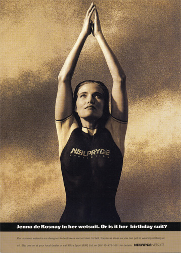Neil Pryde Wetsuit Advertising campaign featuring Jenna de Rosnay